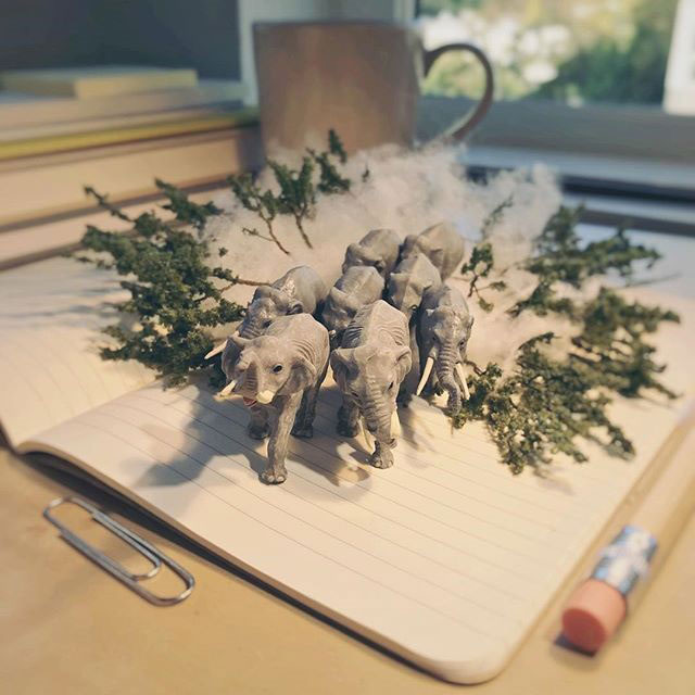 miniature scenes by derrick lin mardser on instagram 1 Guy Creates Tiny Moments on His Desk Using Office Supplies and Huge Collection of Miniatures