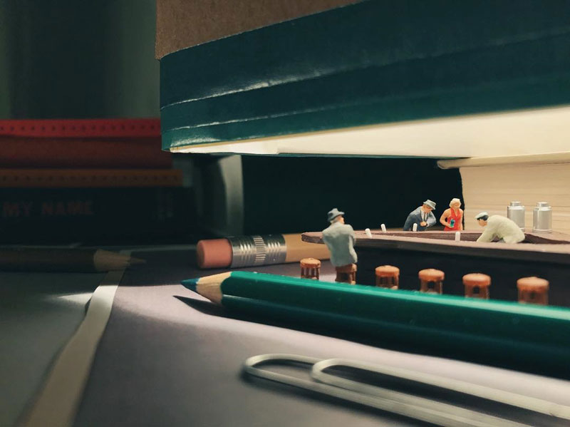 Guy Creates Tiny Moments on His Desk Using Office Supplies and Huge Collection of Miniatures