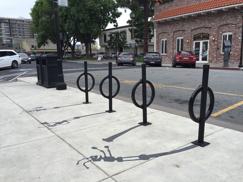 shadow art by damon belanger redwood california 2 This Street Artist is Painting Fake Shadows and Making People Do Double Takes