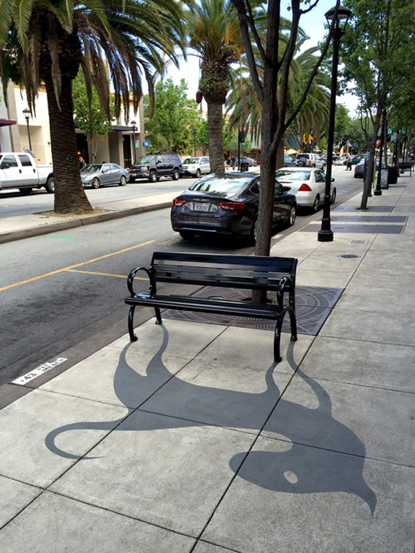 shadow art by damon belanger redwood california 6 This Street Artist is Painting Fake Shadows and Making People Do Double Takes