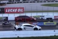 1/4 Mile Drag Race: Tesla Model X P100D vs Lamborghini Aventador SV