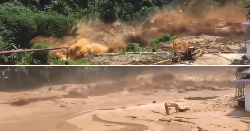 Terrifying Footage Shows the Moment a Dam in Laos Collapses