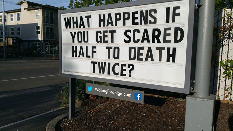 funny seattle gas station sign wallingford 8 Local Seattle Gas Station Sign Has the Best Messages Ever (21 Photos)