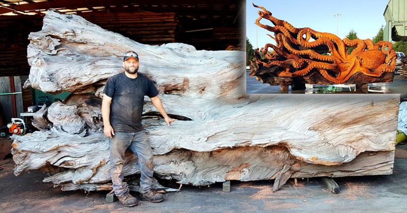 Artist Transforms Fallen Redwood Into Giant Octopus (15 Photos)