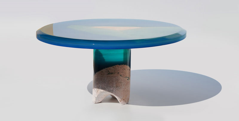 azzurro table 4 1 Artist Channels the Ocean Into One of a Kind Tables Using Marble and Acrylic