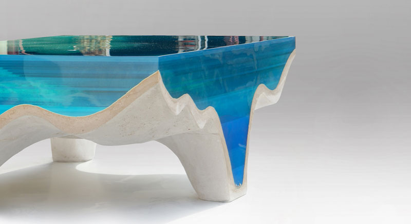 crete table8 1 Artist Channels the Ocean Into One of a Kind Tables Using Marble and Acrylic