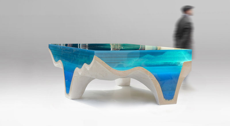 crete table 3 3 Artist Channels the Ocean Into One of a Kind Tables Using Marble and Acrylic
