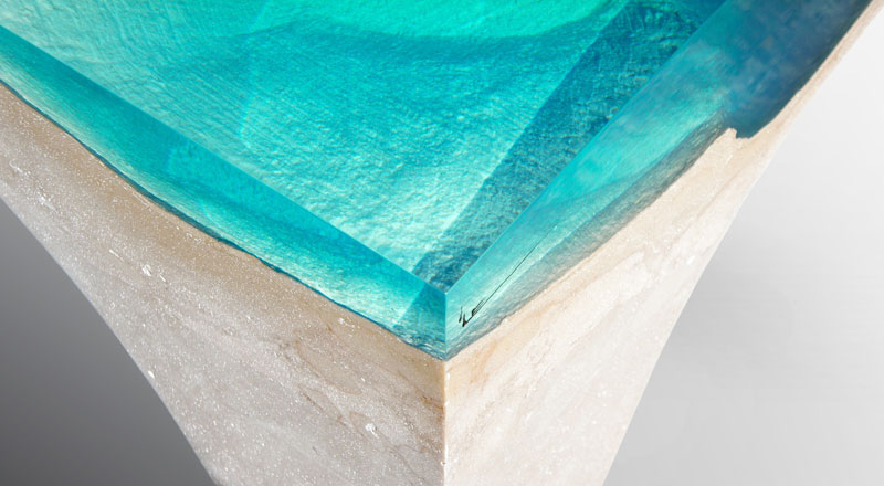 crete table 7 1 Artist Channels the Ocean Into One of a Kind Tables Using Marble and Acrylic