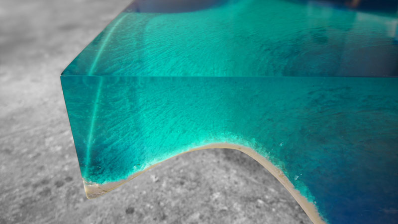 delmare11 Artist Channels the Ocean Into One of a Kind Tables Using Marble and Acrylic