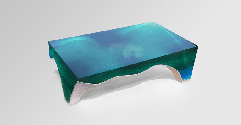 delmare custom 4 1 Artist Channels the Ocean Into One of a Kind Tables Using Marble and Acrylic