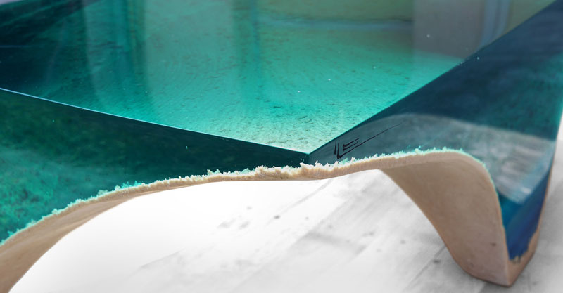 delmare custom 6 1 Artist Channels the Ocean Into One of a Kind Tables Using Marble and Acrylic