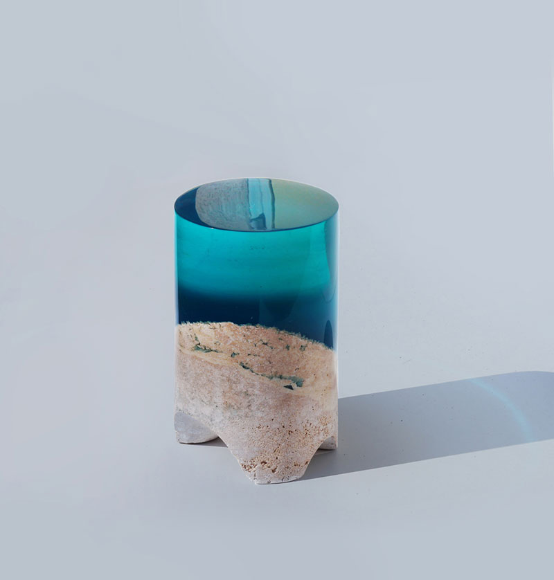tabouret 7 Artist Channels the Ocean Into One of a Kind Tables Using Marble and Acrylic