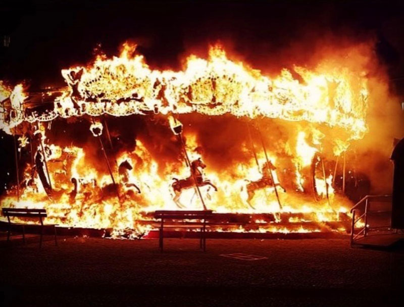 Carousel in Bergamo, Italy Catches Fire and Looks Metal AF