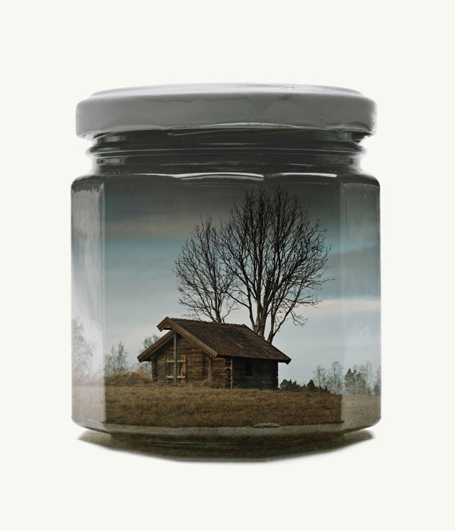 jarred and displaced by christoffer relander 1 Bottled Memories of Childhood Landscapes Using Double Exposure Photography