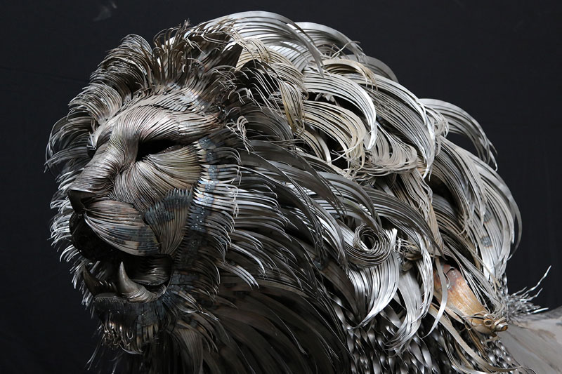 Unbelievable Lion Sculpture Made from Hammered Steel