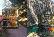 15 Miniature Landscapes Painted Inside Mint Tins