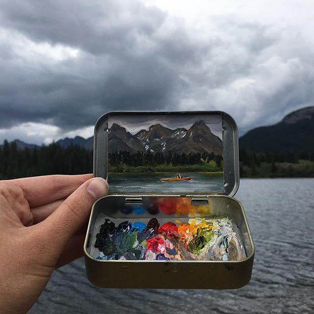 miniature landscapes painted inside mint tins by heidi annalise 2 15 Miniature Landscapes Painted Inside Mint Tins