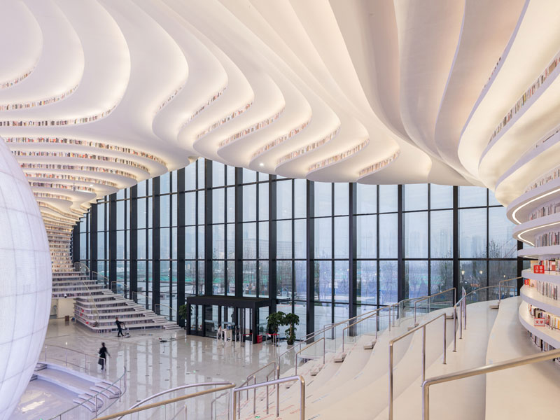 tianjin binhai public library china by mvrdv 9 Incredible Ocean of Books Library Opens in China with Space for 1.2m Titles