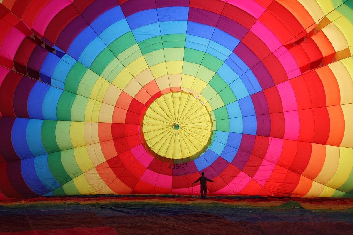 inflating hot air balloon in cappadocia turkey Inflating a Hot Air Balloon in Cappadocia, Turkey