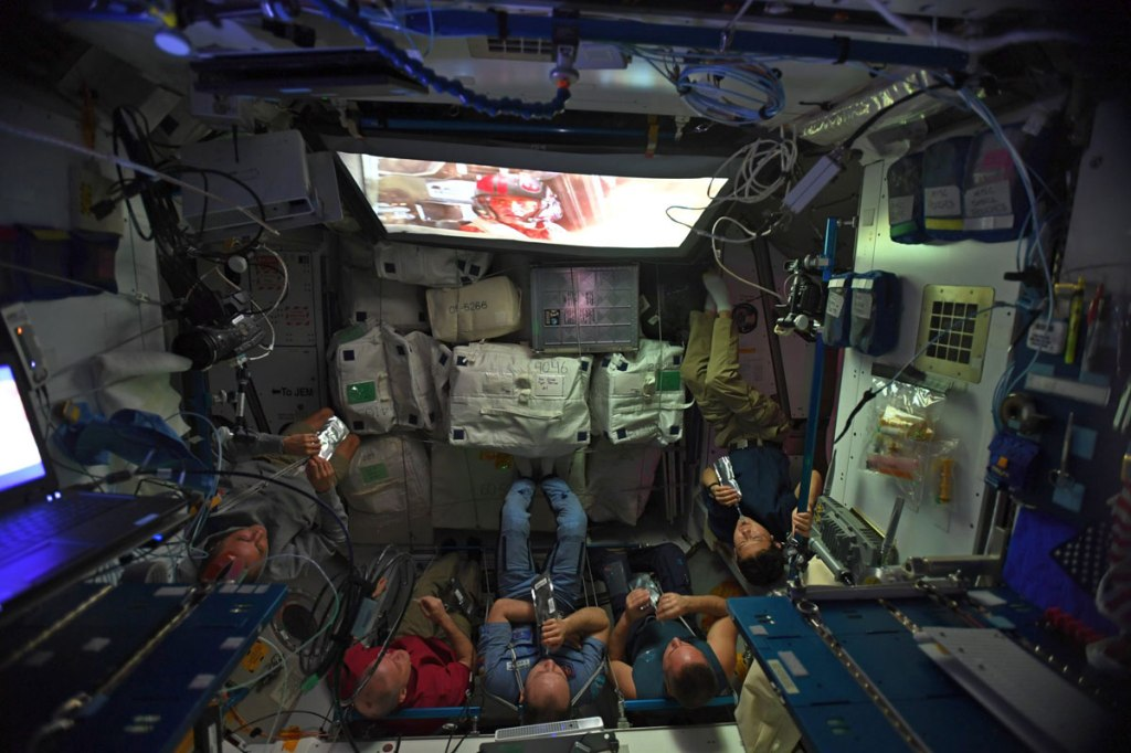 Just Some Astronauts Watching Star Wars: The Last Jedi in Space