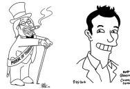 Matt Groening and Seth MacFarlane Drawing Portraits of Each Other