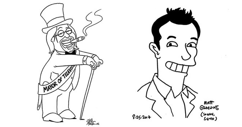 Matt Groening and Seth MacFarlane Drawing Portraits of Each Other