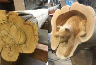 Amazing Artist Carves Animals Crawling Out of Fallen Logs