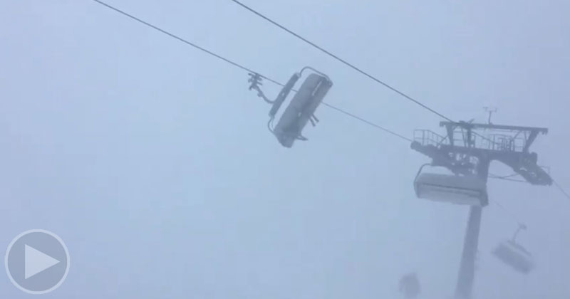 Raw Video Shows Skiers Trapped on Wildly Swinging Chairlift as Eleanor Rages Past