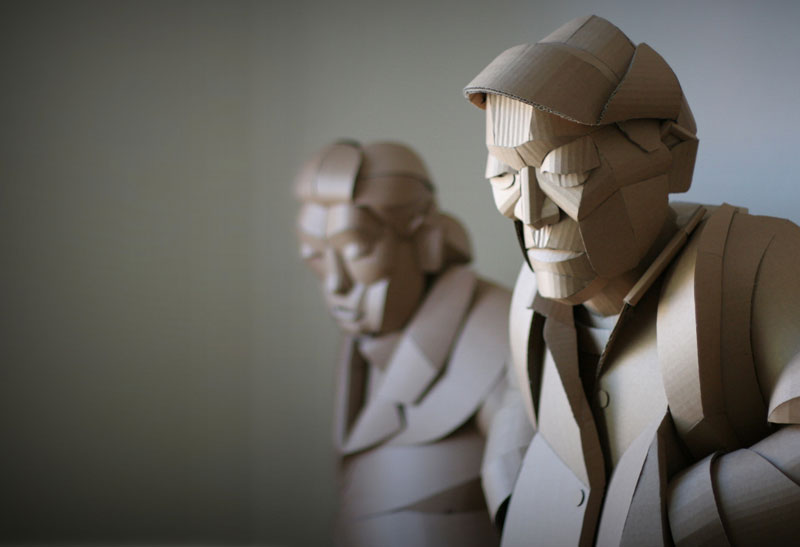 warren king cardboard sculptures 1 Artist Recreates People from Grandparents Village as Life Size Cardboard Sculptures