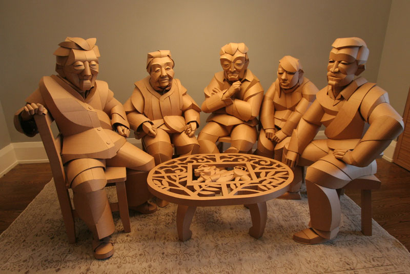 warren king cardboard sculptures 11 Artist Recreates People from Grandparents Village as Life Size Cardboard Sculptures