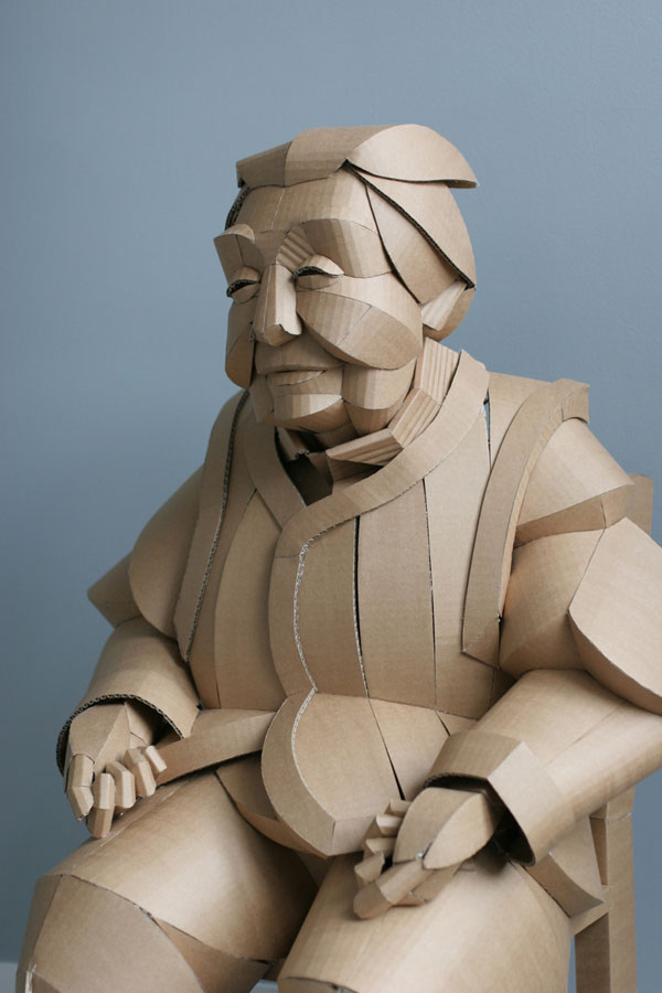 warren king cardboard sculptures 2 Artist Recreates People from Grandparents Village as Life Size Cardboard Sculptures