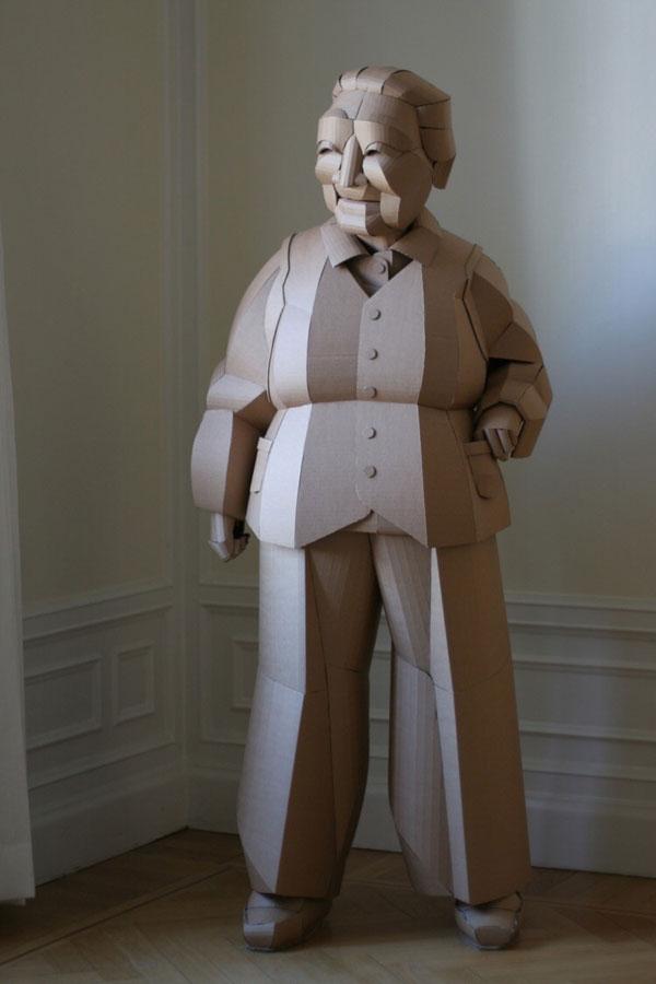 warren king cardboard sculptures 4 Artist Recreates People from Grandparents Village as Life Size Cardboard Sculptures