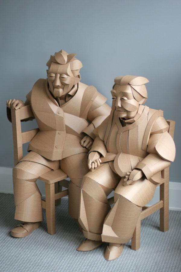 warren king cardboard sculptures 5 Artist Recreates People from Grandparents Village as Life Size Cardboard Sculptures
