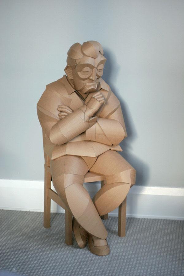 warren king cardboard sculptures 8 Artist Recreates People from Grandparents Village as Life Size Cardboard Sculptures