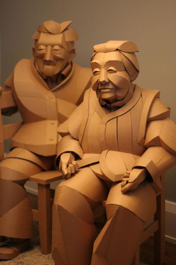 warren king cardboard sculptures 9 Artist Recreates People from Grandparents Village as Life Size Cardboard Sculptures