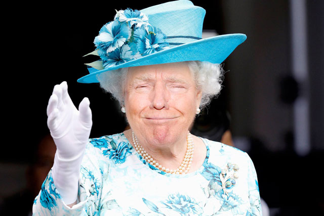photoshopping trumps face onto the queens 11 This Woman Cant Stop Photoshopping Trumps Face Onto the Queens (Top 50)