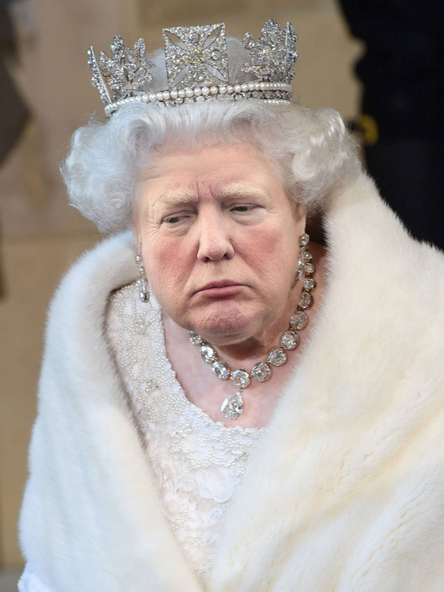 photoshopping trumps face onto the queens 16 This Woman Cant Stop Photoshopping Trumps Face Onto the Queens (Top 50)