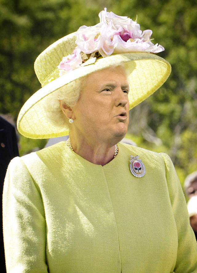 photoshopping trumps face onto the queens 21 This Woman Cant Stop Photoshopping Trumps Face Onto the Queens (Top 50)