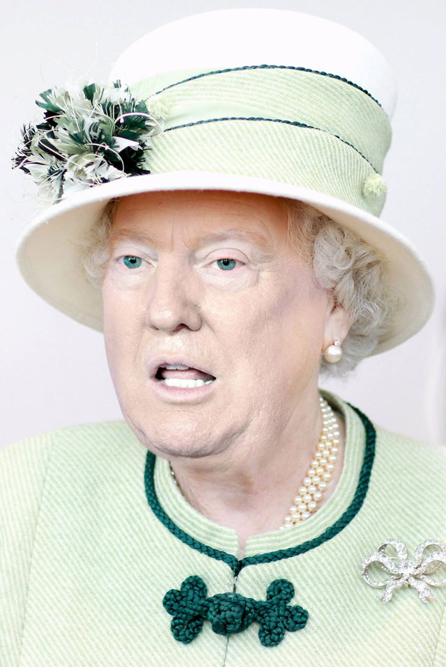 photoshopping trumps face onto the queens 35 This Woman Cant Stop Photoshopping Trumps Face Onto the Queens (Top 50)