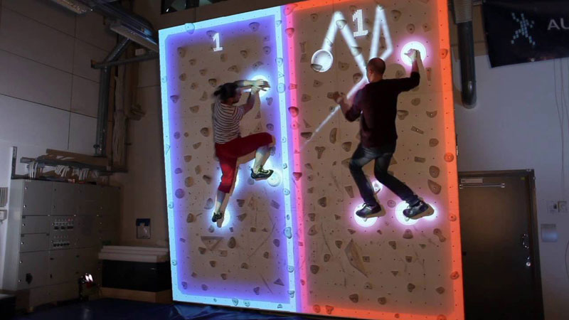 pong climbing wall augmented reality climbing wall 7 This Augmented Climbing Wall Lets You Play Pong Against Your Friends