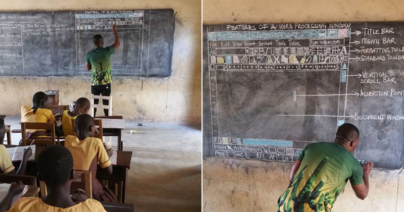 Teacher Using Chalkboard to Teach MS Word Draws Praise and Sparks Ire