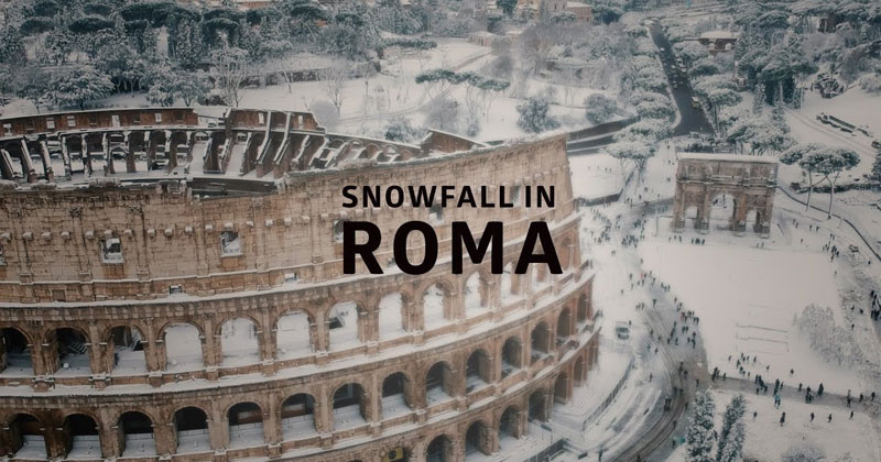 Drone Captures Rare Snowfall in Rome from Above
