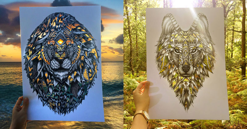 Artist Makes Intricate Animal Cutouts and Lets Nature Fill in the Rest