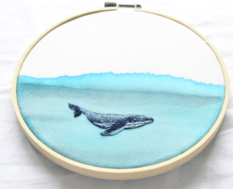 Artist Mixes Embroidery with Watercolor on Fabric
