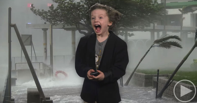 Kid Makes Epic Weather Report for School With Help from VFX Dad
