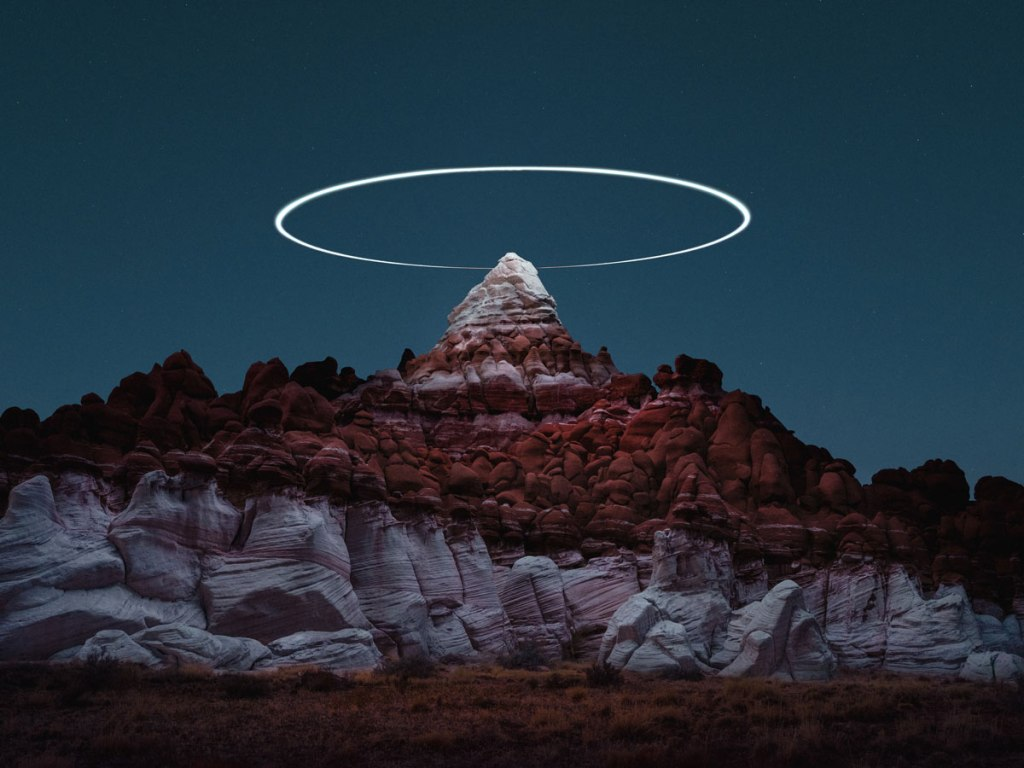 Long Exposure Mountain Halos and Drone Illuminated Landscapes at Night