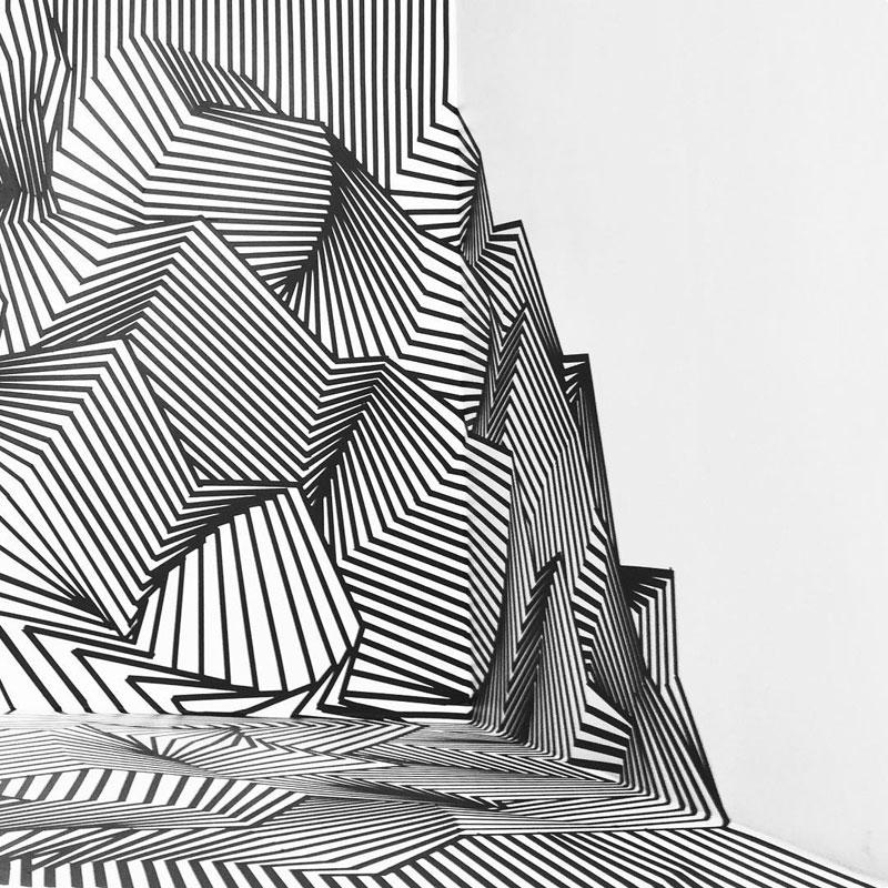 tape art installations by darel carey 4 Mesmerizing Tape Art Installations by Darel Carey