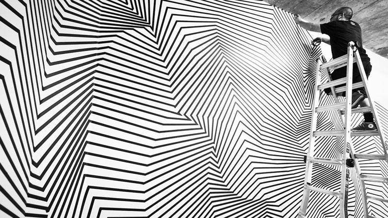 tape art installations by darel carey 9 Mesmerizing Tape Art Installations by Darel Carey