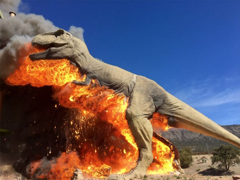 animatronic trex on fire 3 A Life Size Animatronic T Rex Burst Into Flames and the Pics are Metal AF