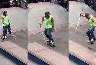 Blind Skater Lines Up For a 50/50